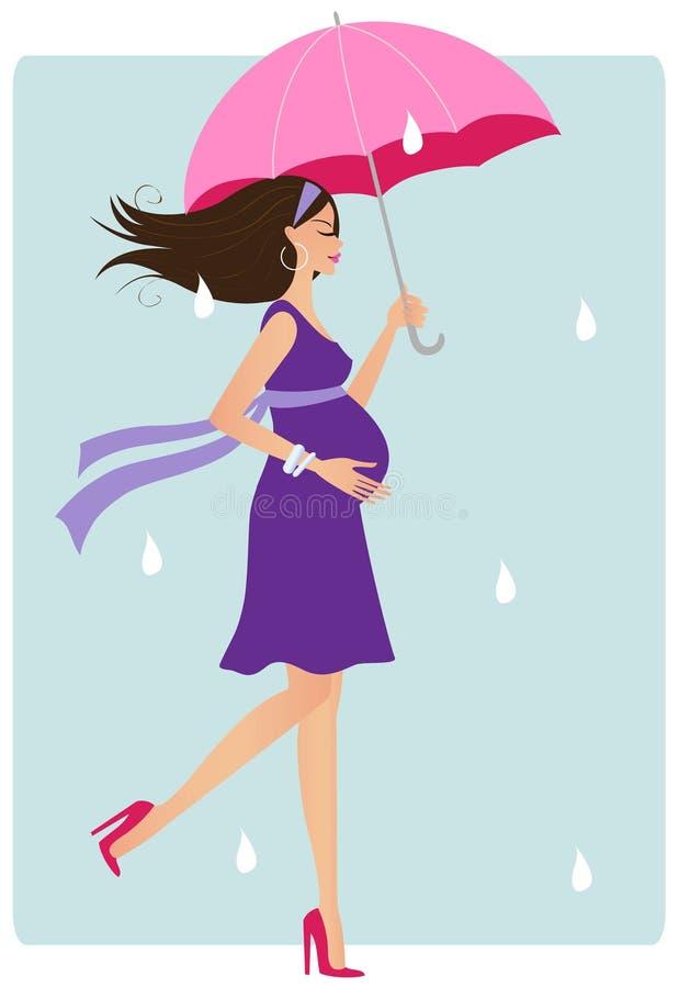 Glückliche schwangere Frau mit Regenschirm lizenzfreie abbildung