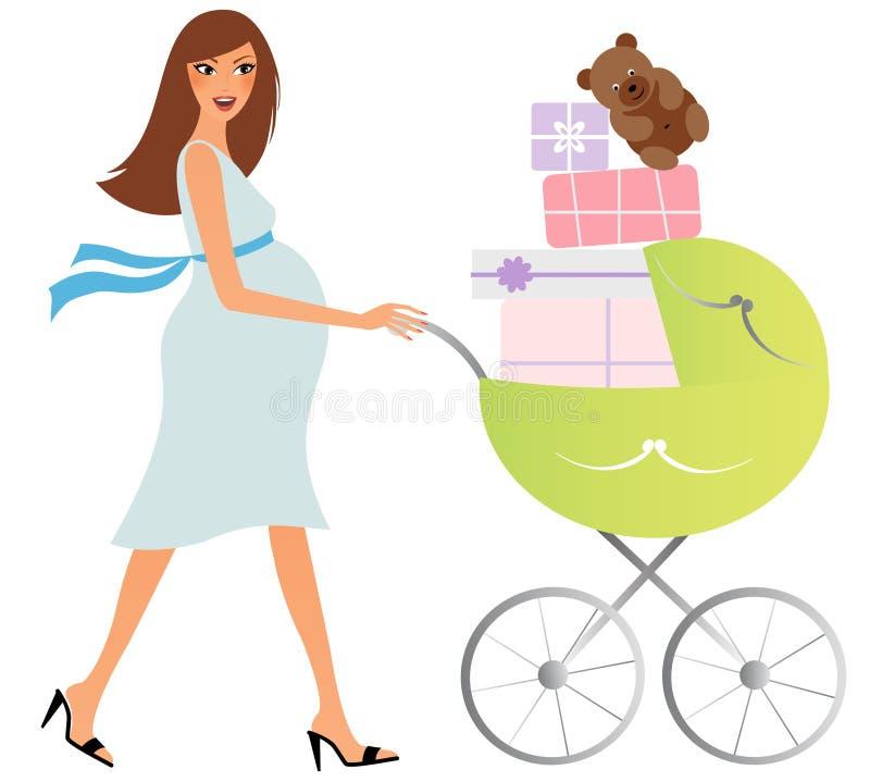 Glückliche schwangere Frau mit Wagen lizenzfreie stockfotos