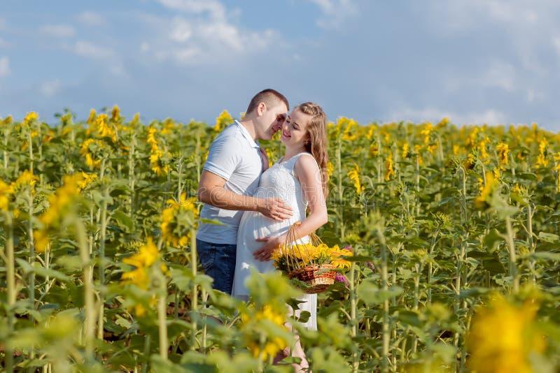 Glückliche schwangere Paare in der Natur Sonnenblume auf dem Gebiet stockfotografie