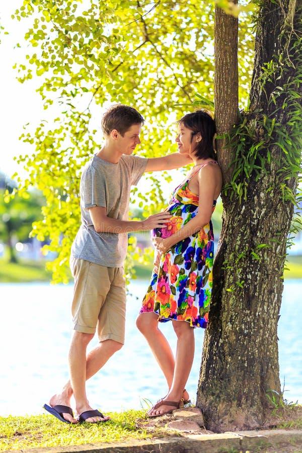 Glückliche schwangere Paare, die am ttopical Park im Rücklicht stehen stockfotos