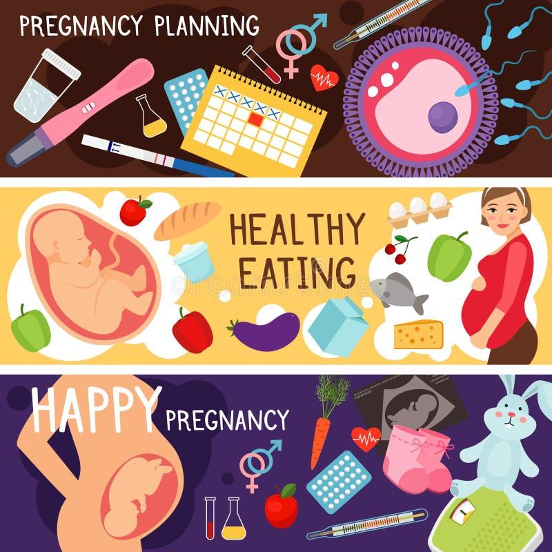 Glückliche Schwangerschaftsfahnen Lebensstil der schwangeren Frau, Planung des Kinderempfängnisses, Vektor der gesunden Diät des  stock abbildung