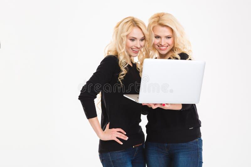 Glückliche Schwesterzwillinge unter Verwendung der Laptop-Computers lizenzfreies stockbild