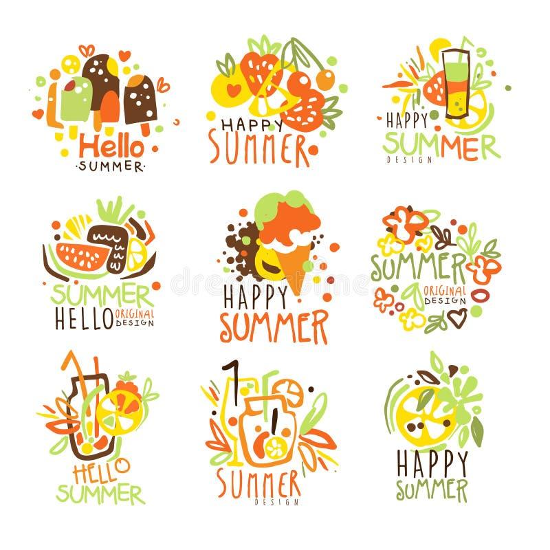 Glückliche Sommer-Ferien Sunny Colorful Graphic Design Template Logo Series, Hand gezeichnete Vektor-Schablonen stock abbildung