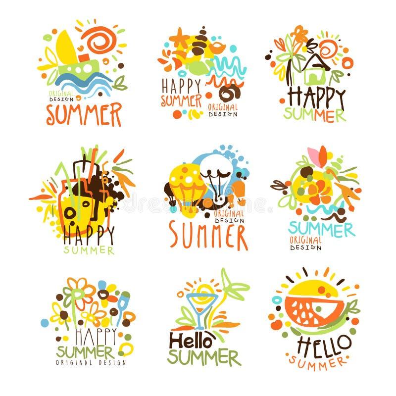 Glückliche Sommer-Ferien Sunny Colorful Graphic Design Template Logo Set, Hand gezeichnete Vektor-Schablonen lizenzfreie abbildung