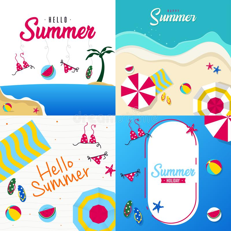 Glückliche Sommerferien in der Strandillustration Tropischer Feiertag in der Sommerillustration vektor abbildung