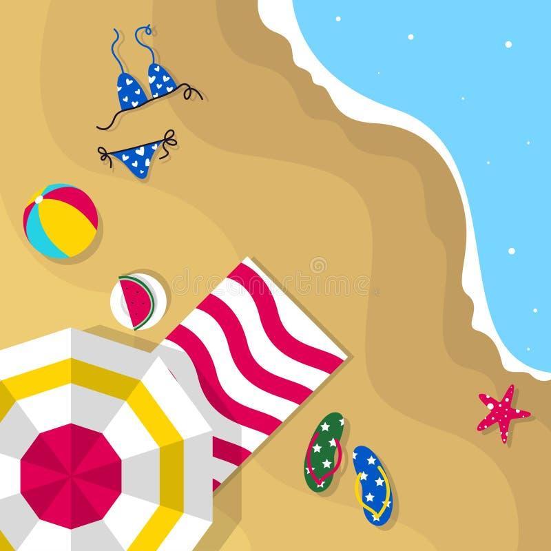 Glückliche Sommerferien in der Strandillustration Tropischer Feiertag in der Sommerillustration lizenzfreie abbildung