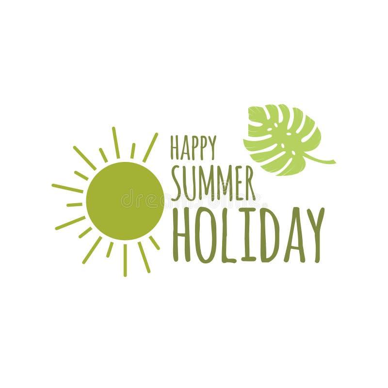 Glückliche Sommerferien Logo Vector Template Design Illustration lizenzfreie abbildung