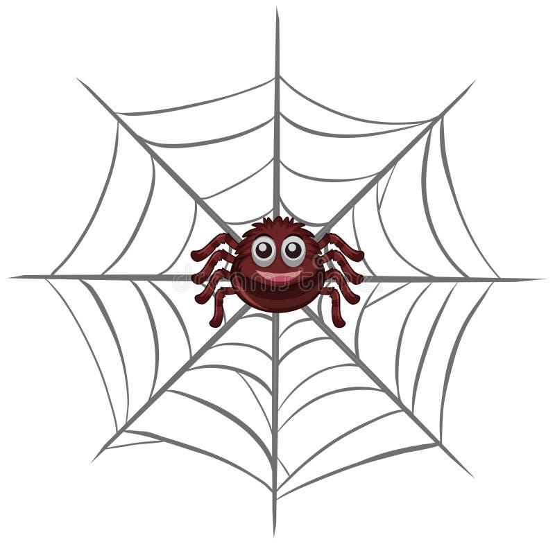 Glückliche Spinne im Netz lizenzfreie abbildung