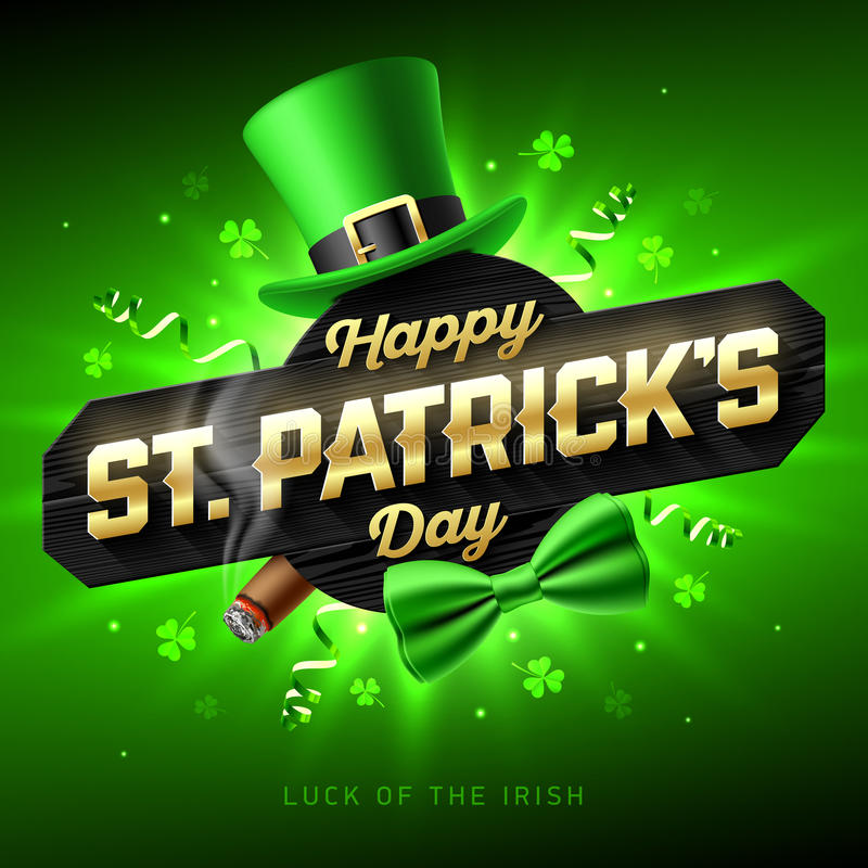 Glückliche St- Patrick` s Tagesgrußkarte vektor abbildung