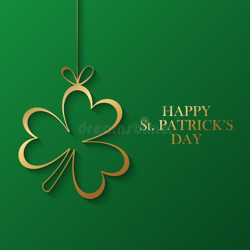Glückliche St- Patrick` s Tagesgrußkarte mit goldenem Shamrock auf grünem Hintergrund lizenzfreie abbildung