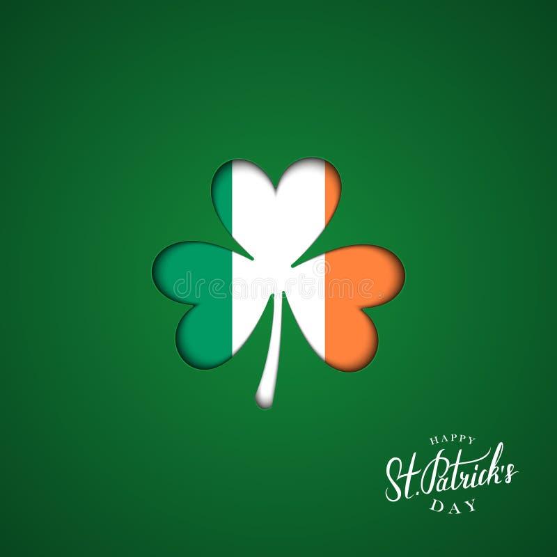 Glückliche St- Patrick` s Tagesgrußkarte mit Klee unterzeichnen herein Farben der irischen Staatsflagge vektor abbildung