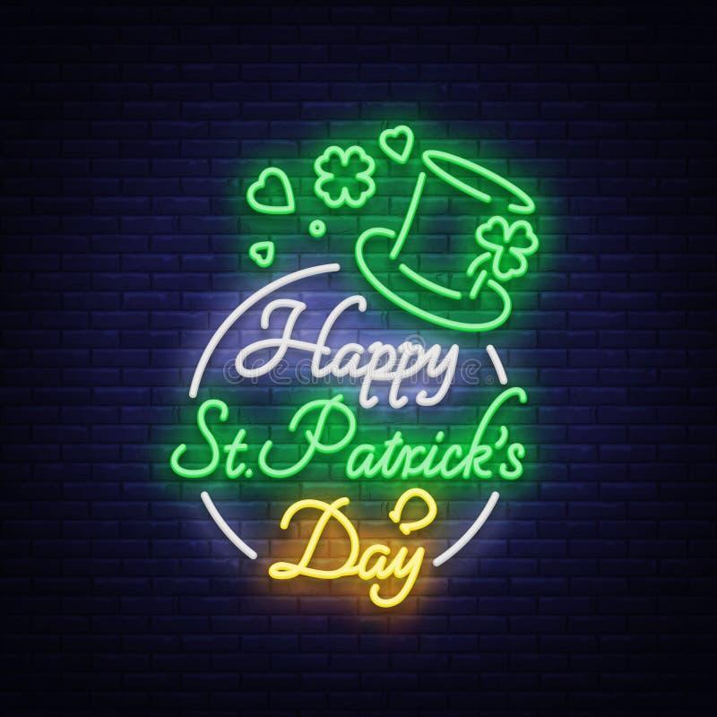 Glückliche St- Patrick` s Tagesvektor-Illustration in der Neonart Leuchtreklame, Grußkarte, Postkarte, Neonfahne, helle Nacht lizenzfreie abbildung