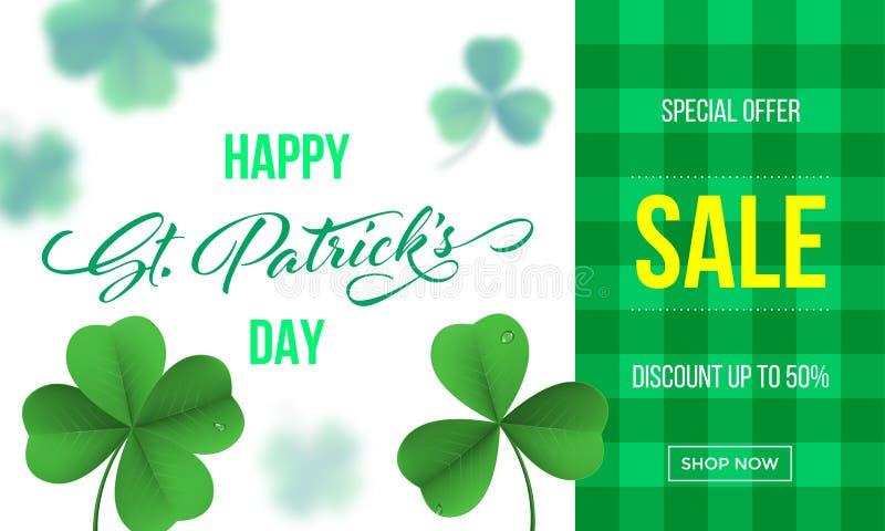 Glückliche St- Patrick` s Tagesverkaufsfahne mit Shamrockklee auf grünem Ginghamhintergrund Vektor-St- Patrickverkaufsbeschriftun stock abbildung