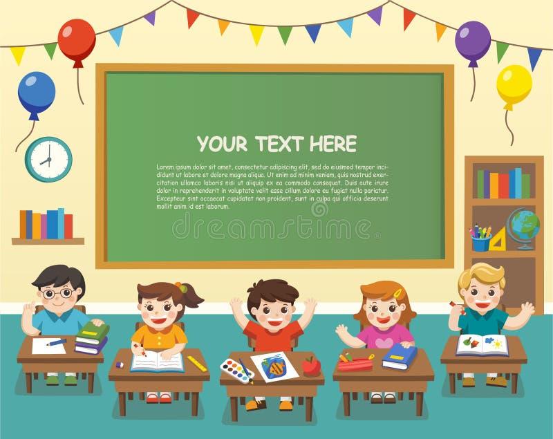 Glückliche Studenten, die in der Klasse studieren Schablone für Anzeige lizenzfreie abbildung