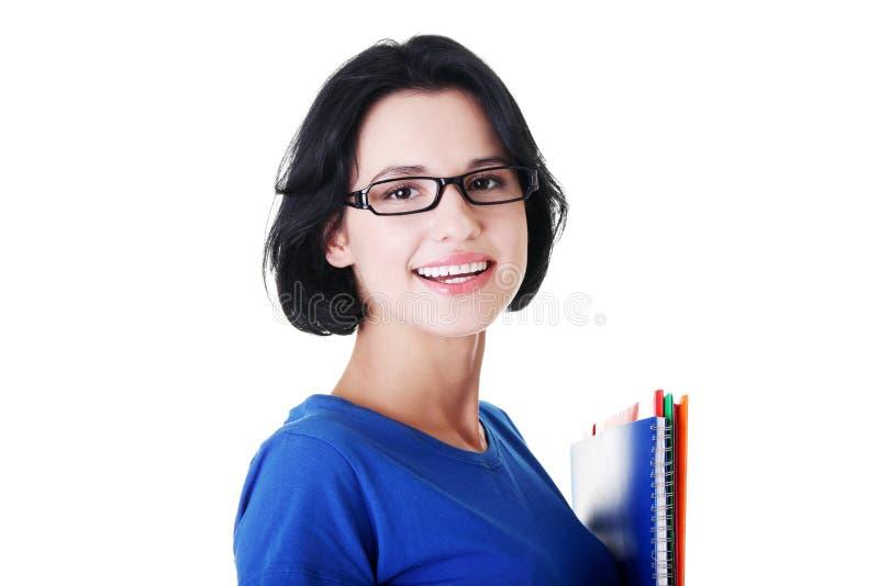 Glückliche Studentenfrau Mit Notizbüchern Lizenzfreies Stockfoto