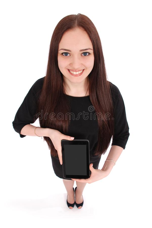 Glückliche Studentenjugendliche mit Tabletten-PC lizenzfreie stockfotos