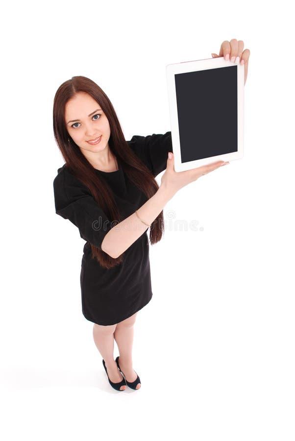 Glückliche Studentenjugendlicheansicht von oben genanntem und vom Zeigen einer Tablette lizenzfreie stockfotos
