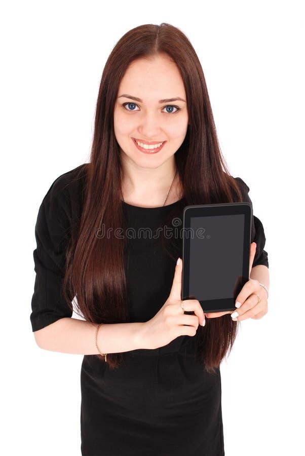 Glückliche Studentenjugendlicheansicht von oben genanntem und vom Zeigen einer Tablette stockfotografie