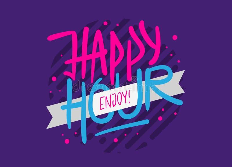 Glückliche Stunden-Aufkleber-Zeichen-Logo Hand Drawn Brush Lettering-Kalligraphie-Art Entwurfs-Vektor-Grafik stock abbildung