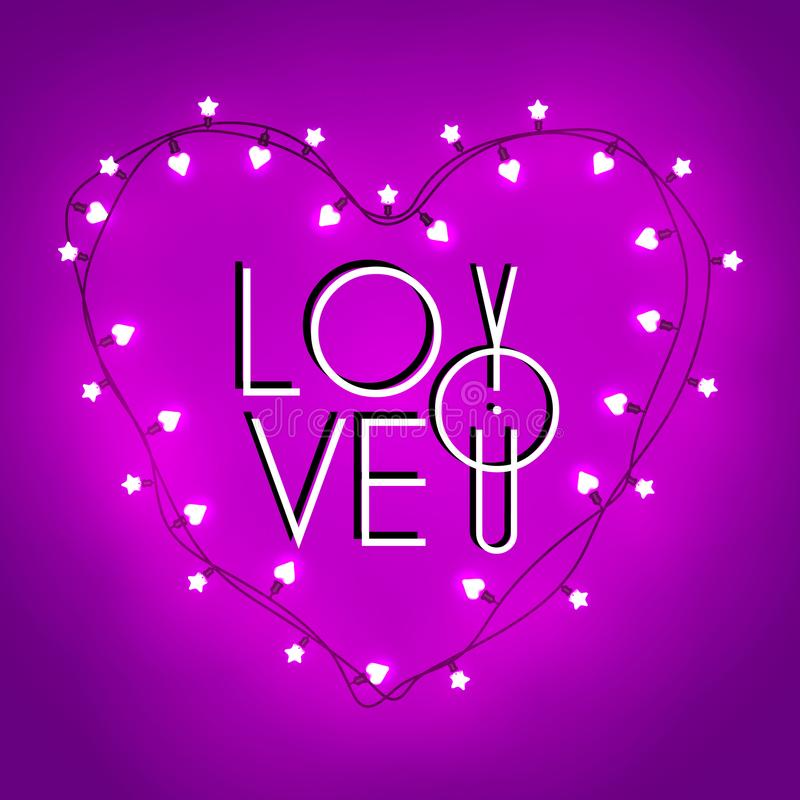Glückliche Tageshandbeschriftung des Valentinsgruß-s - typografischer Hintergrund Retro- helles Zeichen des Vektors Getrennt auf  stockbild