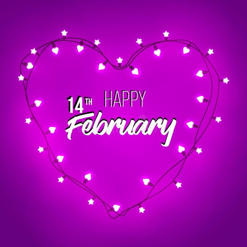 Glückliche Tageshandbeschriftung des Valentinsgruß-s - typografischer Hintergrund Retro- helles Zeichen des Vektors Getrennt auf  stockbilder
