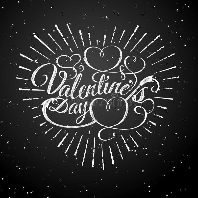 Glückliche Tagesvektor-Weinleseillustration des Valentinsgruß-s Zeichen mit Sonnenstrahlen und -pfeil Stempel beschriften mit Son stock abbildung