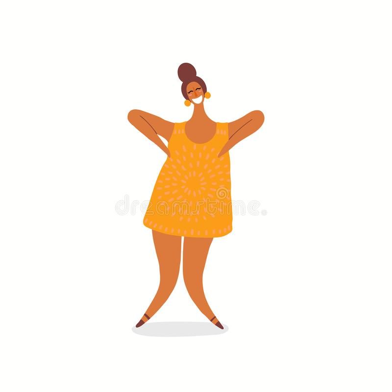 Glückliche tanzende Frauenillustration lizenzfreie abbildung