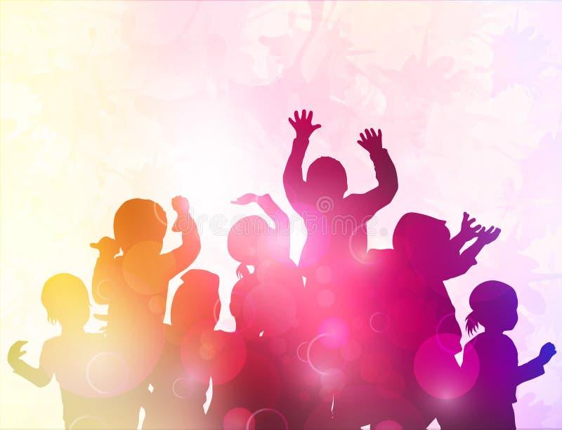 Glückliche Tanzenkinder lizenzfreie abbildung