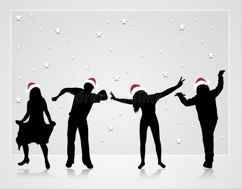 Glückliche Tanzenleute lizenzfreie abbildung