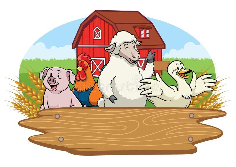 Glückliche Tiere im Bauernhofyard mit leerem Holzschild stock abbildung