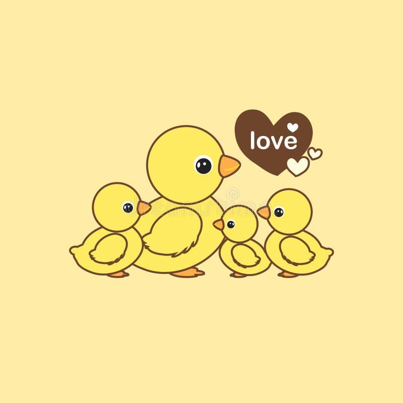 Glückliche Tierfamilie Enten- und Entleinkarikaturvektorillustration vektor abbildung
