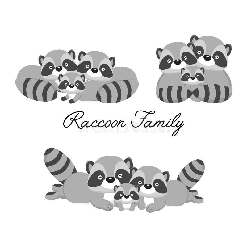 Glückliche Tierfamilie Vati, Mutter, Babywaschbärkarikatur stock abbildung