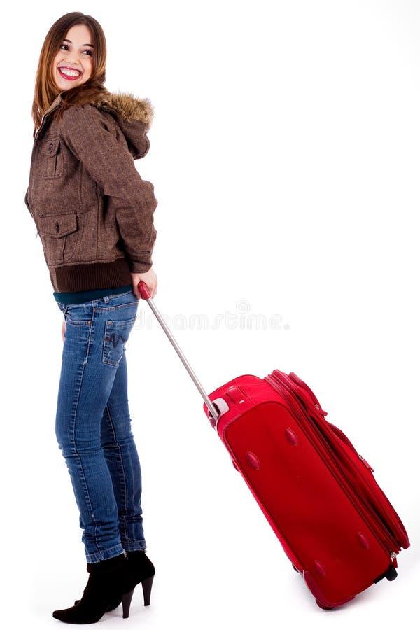 Glückliche touristische Frau stockfoto