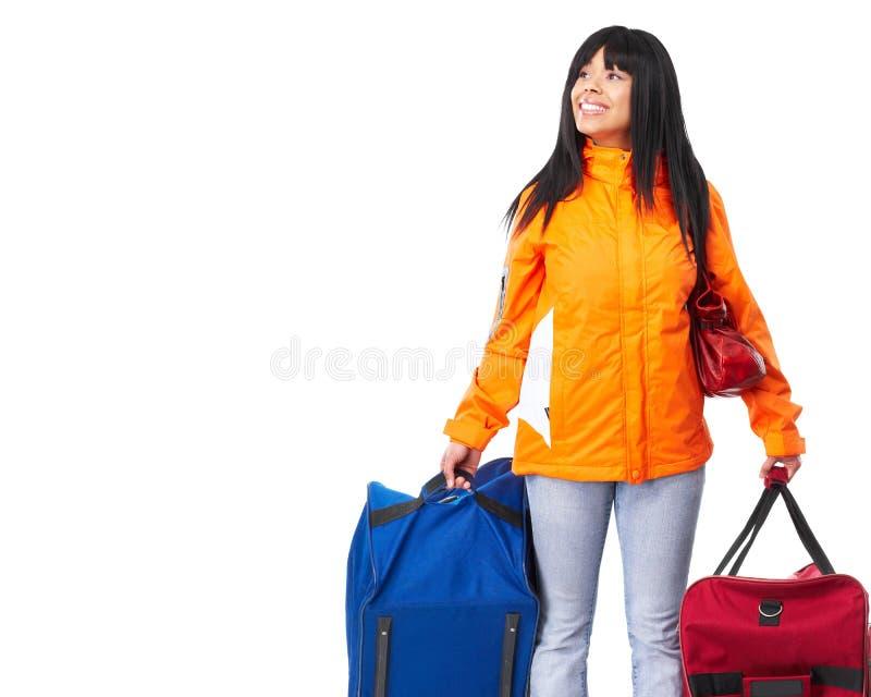 Glückliche touristische Frau lizenzfreie stockbilder