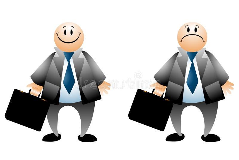 Glückliche traurige Geschäftsmann-Karikaturen lizenzfreie abbildung
