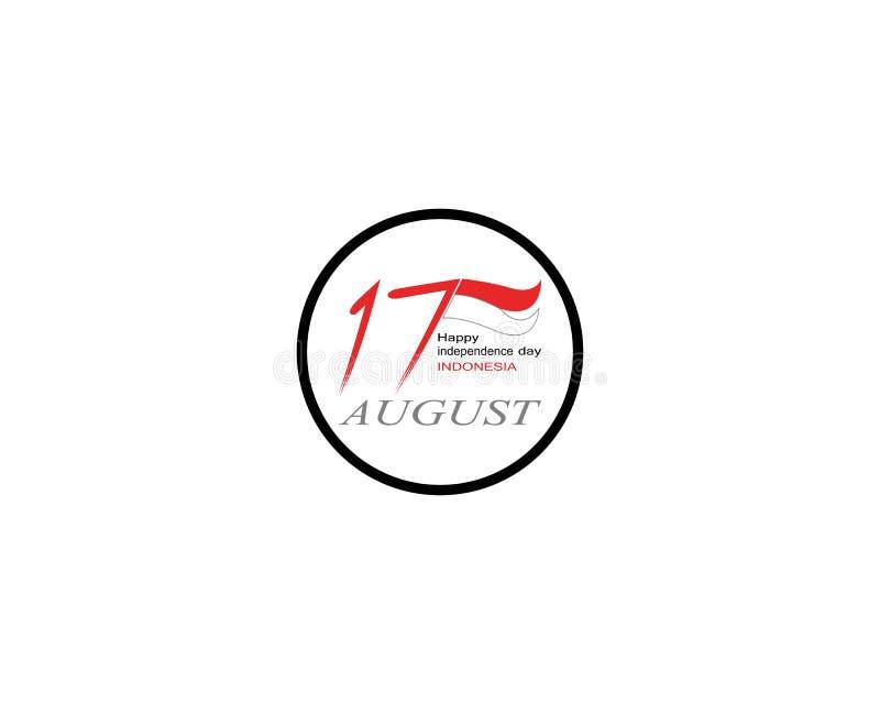 Glückliche Unabhängigkeitstagindonesien-Logovektorschablone vektor abbildung