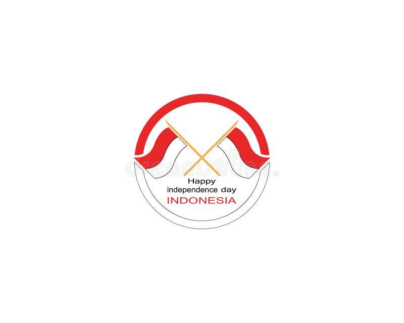 Glückliche Unabhängigkeitstagindonesien-Logovektorschablone stock abbildung