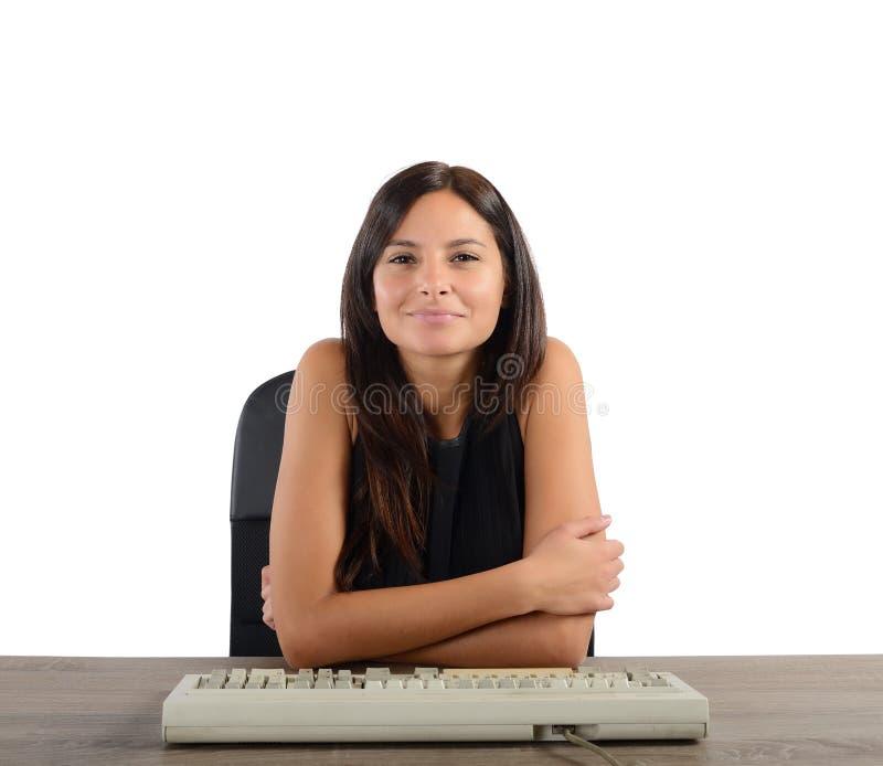 Glückliche und erfüllte Geschäftsfrau stockbild