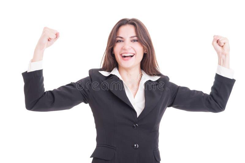 Glückliche und erfolgreiche Geschäftsfrau, Unternehmer oder Finanzm lizenzfreie stockfotos