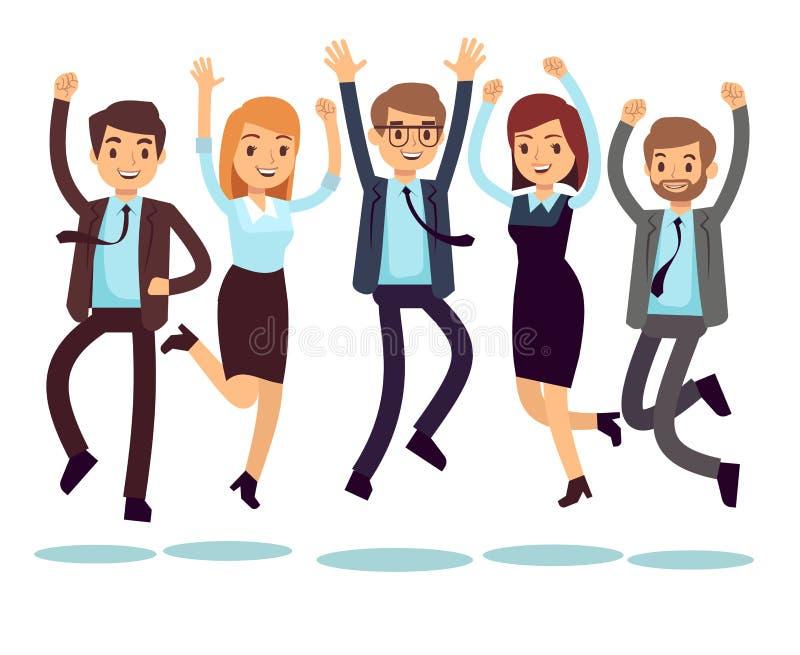 Glückliche und lächelnde Arbeitskräfte, Geschäftsleute, die flache Vektorcharaktere springen lizenzfreie abbildung