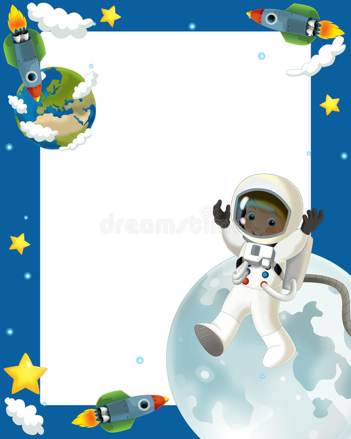 Glückliche Und Lustige Stimmung Der Raumreise - - Illustration Für Die Kinder Stockfoto