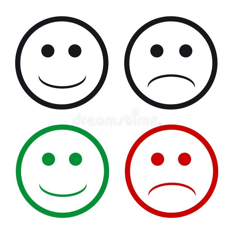 Glückliche und traurige emoji Lächelngesichter stock abbildung