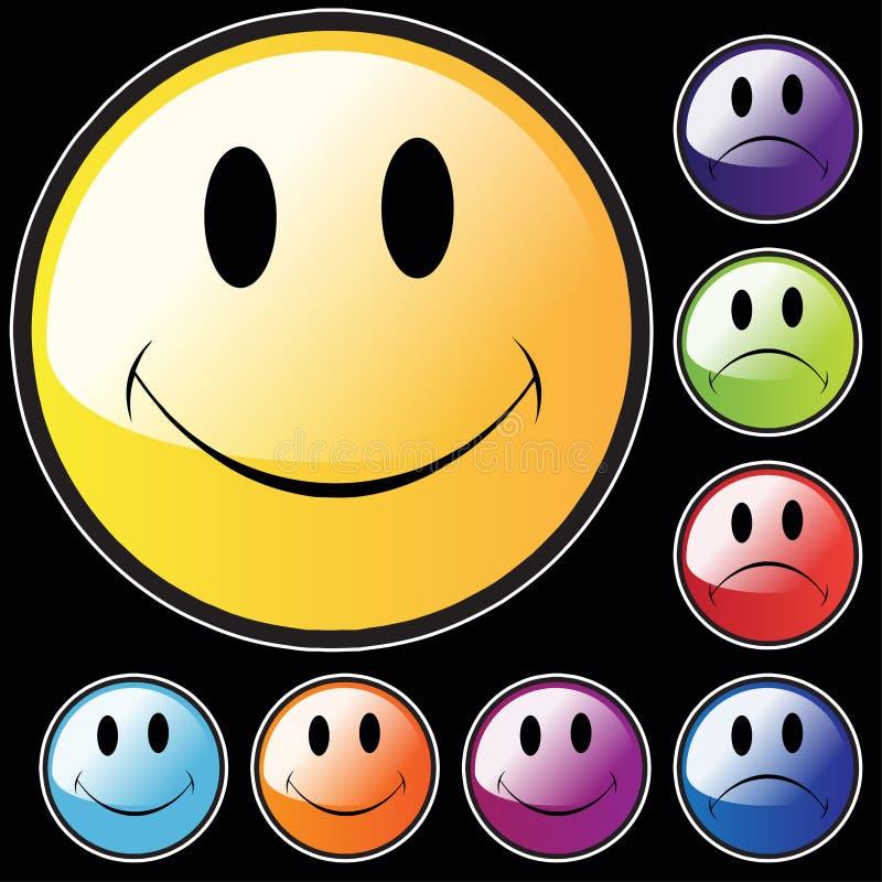 Glückliche und unglückliche Gesichter stock abbildung
