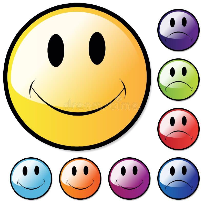 Glückliche und unglückliche Gesichter lizenzfreie abbildung