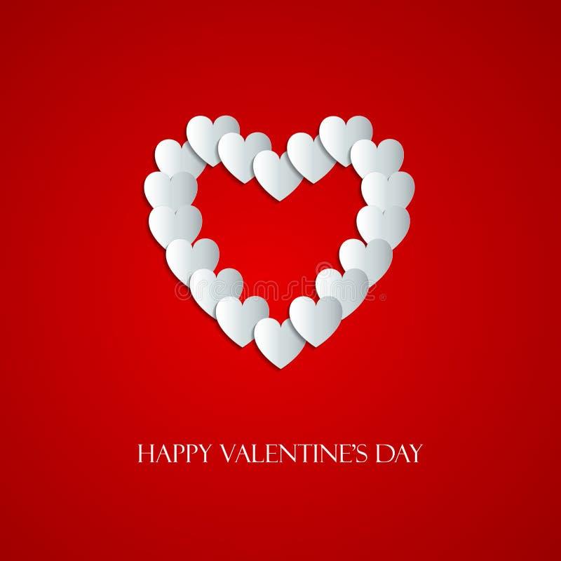 Glückliche Valentine Day-Grußkarte mit Herzen vektor abbildung