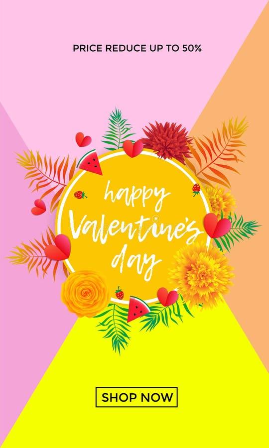 Glückliche Valentine Day-Verkaufsfahnen-Designschablone von Herzen, gelbe Blumen und Palmblatt oder Beerenmuster auf rosa Hinterg stock abbildung
