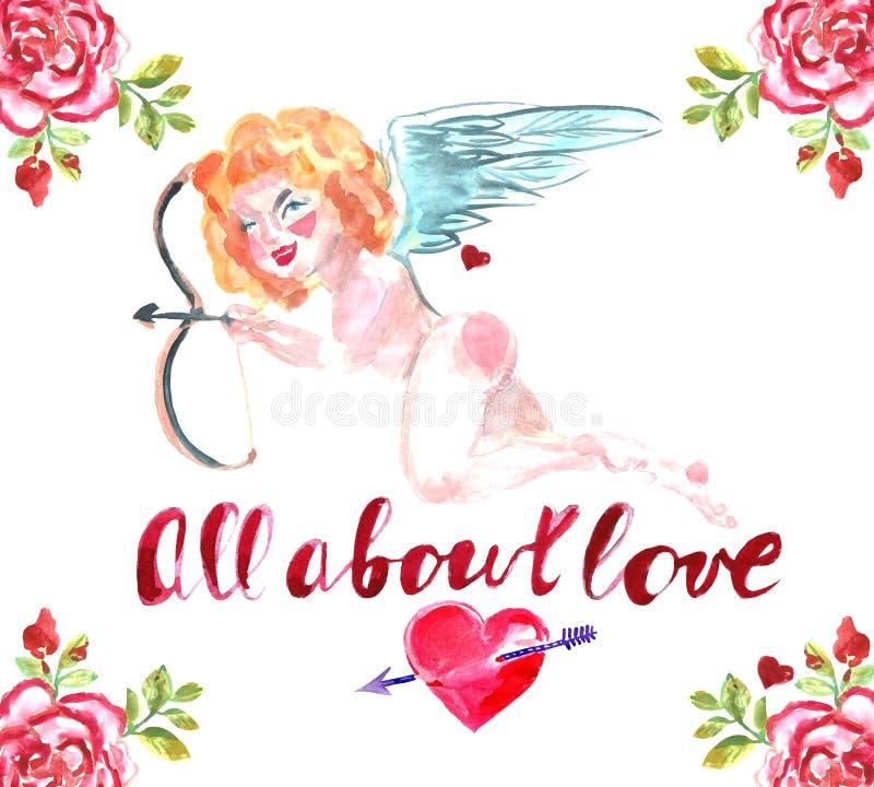 Glückliche Valentinsgruß `s Tagesgrußkarte Dekoratives Bild einer Flugwesenschwalbe ein Blatt Papier in seinem Schnabel Rote Herz lizenzfreie abbildung