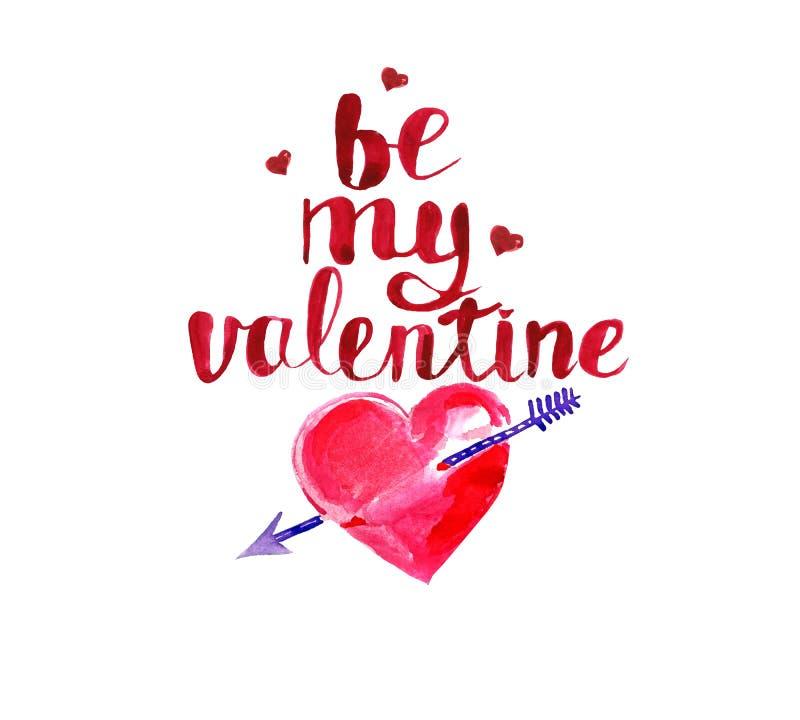 Glückliche Valentinsgruß `s Tagesgrußkarte Rote Herzen, Amorpfeil, Hand schriftliche Aufschrift sind mein Valentinsgruß vektor abbildung