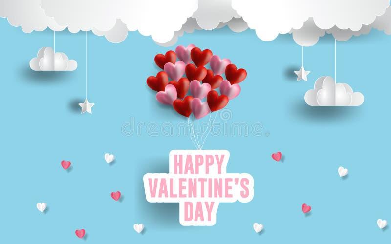 Glückliche Valentinsgruß ` s Tagesillustration rosa und rote Herzballone der Papierkunst Papierwolken im blauen Himmel ENV 10 lizenzfreie abbildung