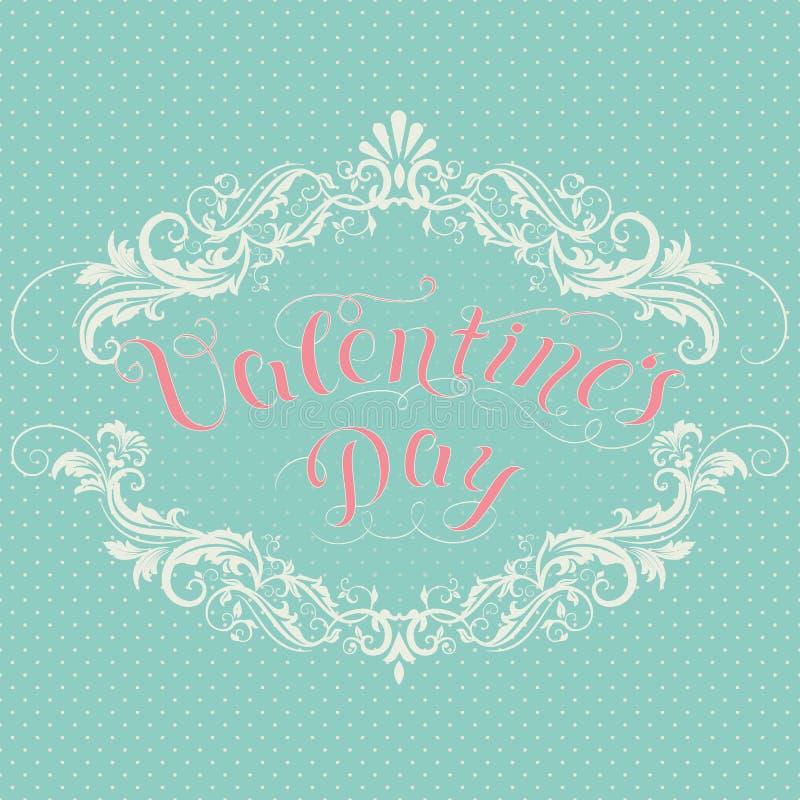 Glückliche Valentinsgruß ` s Tagesvektorkarte Mit eleganten Florenelementen und Text Elegante und zarte Geschenk- oder Einladungs lizenzfreie abbildung